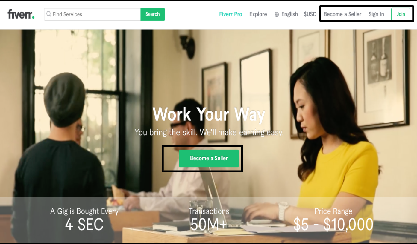 Fiverr homepage - 'Become a Seller' button
