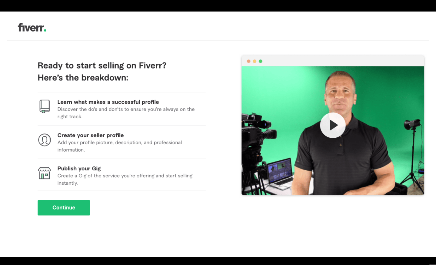 Fiverr screenshot - A step by step guide of how to set up your profile
