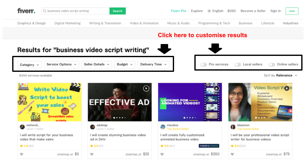 """Fiverr results page for """"business video script writing"""""""