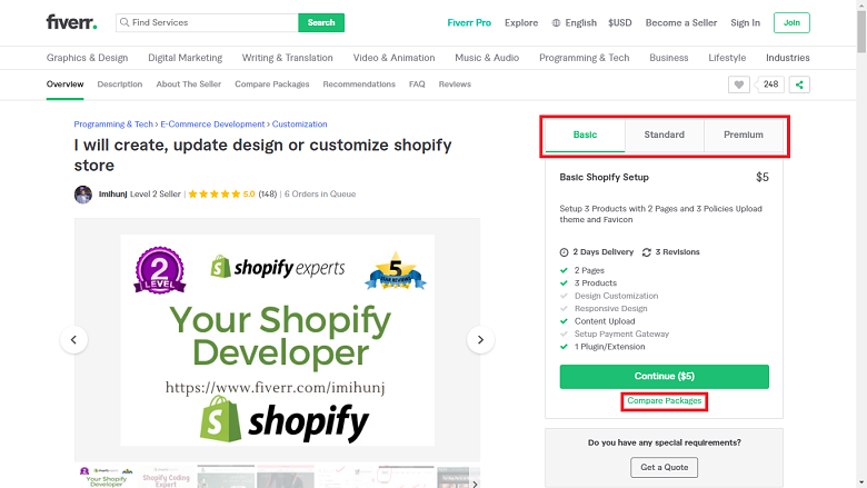 Fiverr screenshot - package tabs and compare packages button