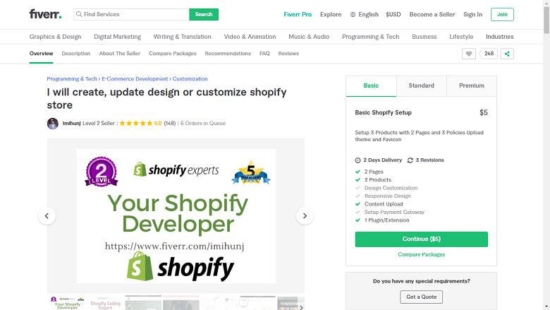 Fiverr screenshot - package overview
