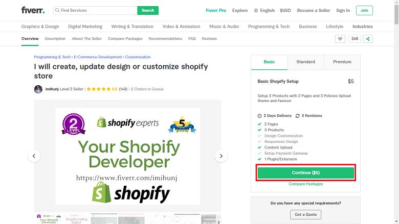 Fiverr screenshot - continue button