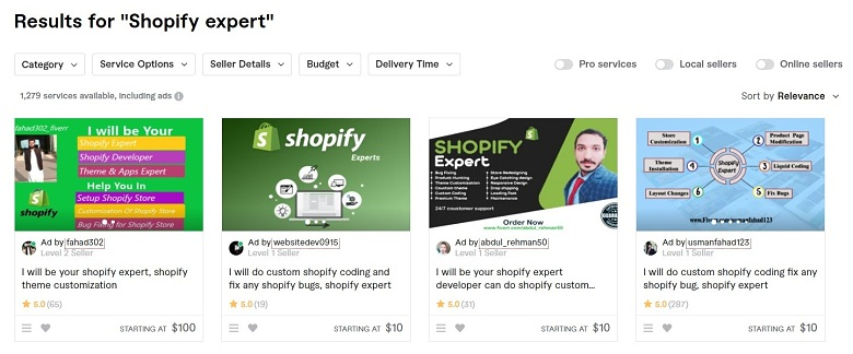 Fiverr screenshot - shopify experts