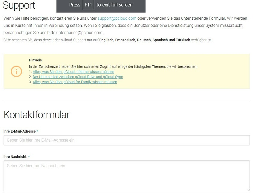 pCloud support contact form