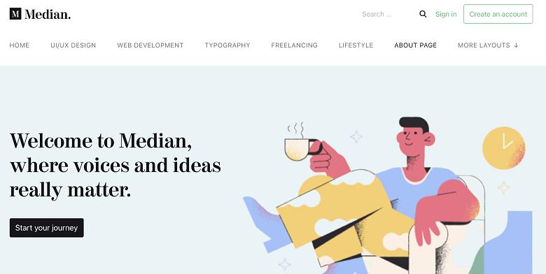 Median template for WordPress inspired by Medium