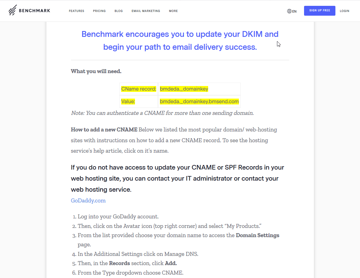 Benchmark Email's DKIM authentication guide