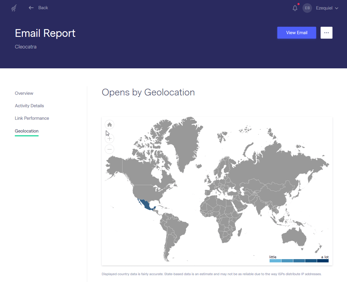 Benchmark Email's geolocation stats
