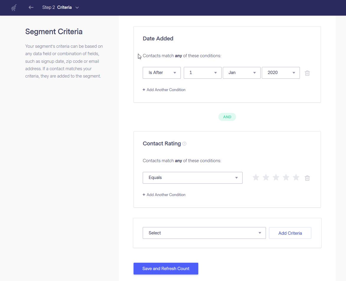 Benchmark Email's segmentation tool