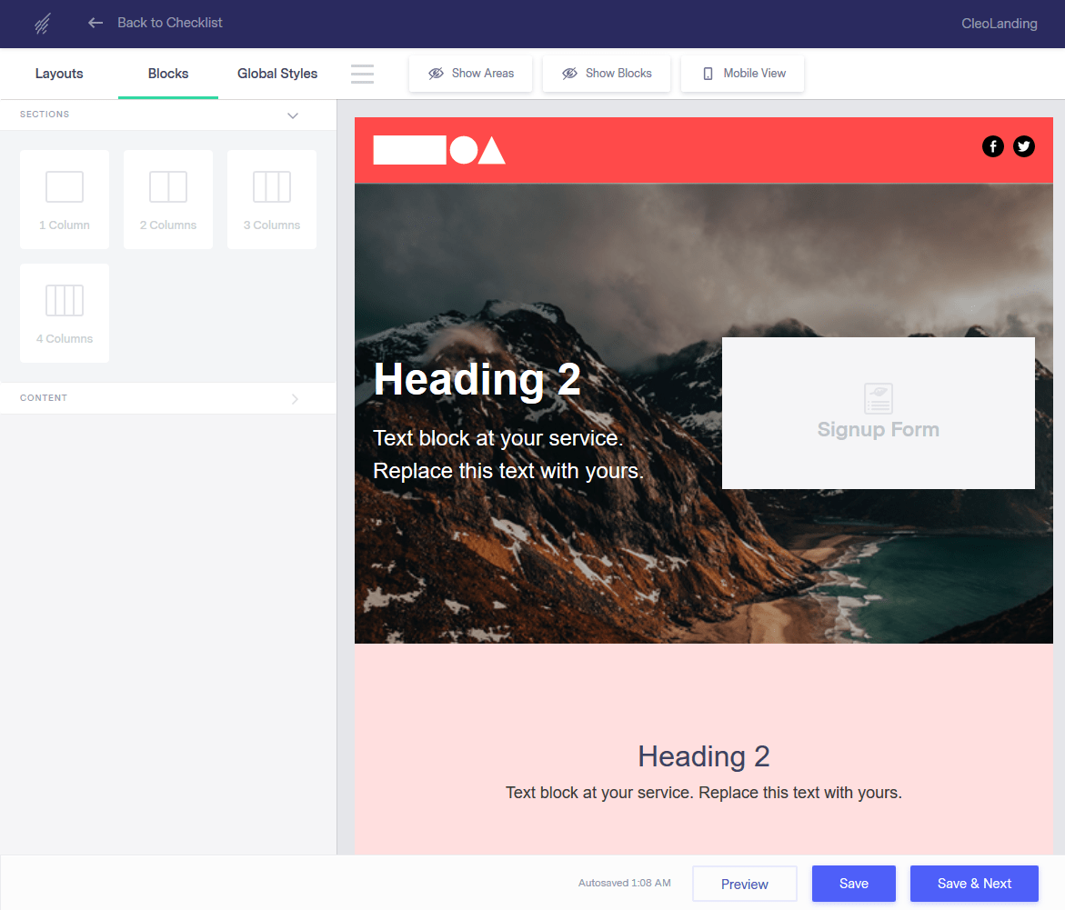 Benchmark Email's landing page editor