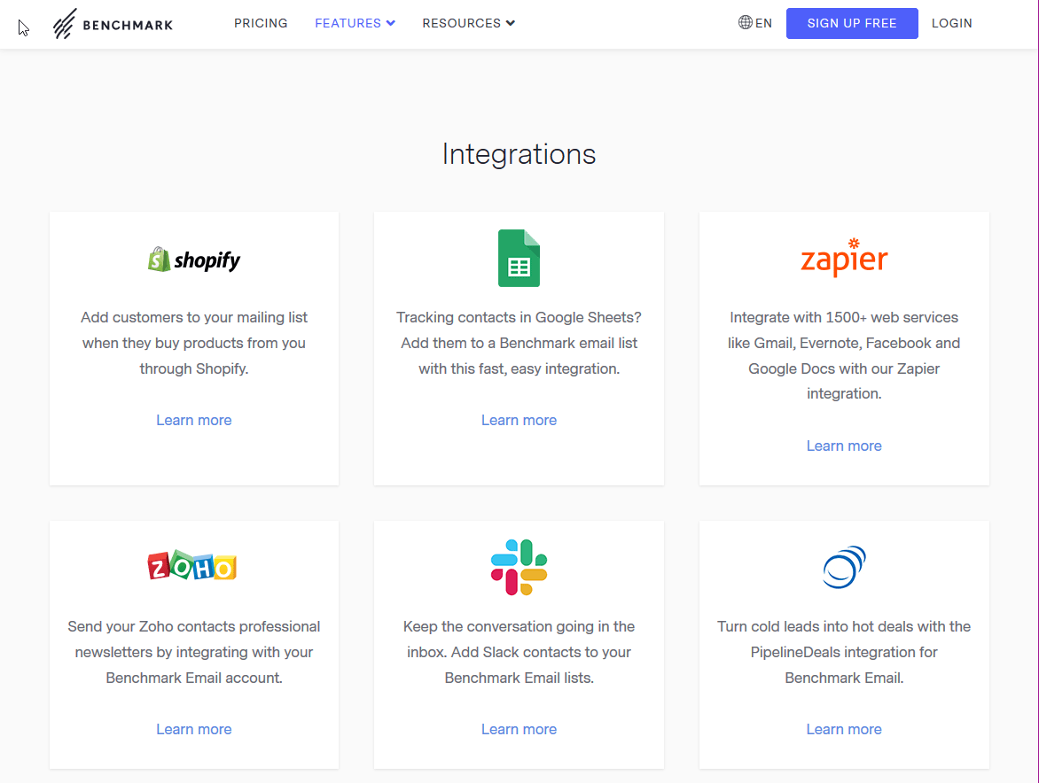 Benchmark Email's integration library