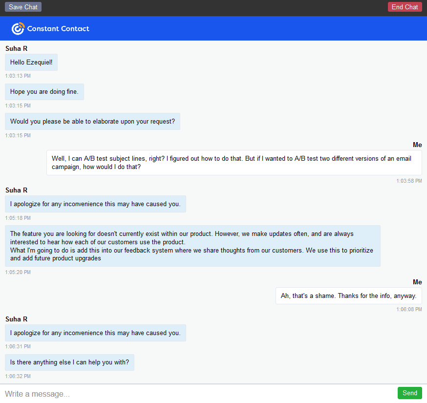 my chat interaction with Constant Contact