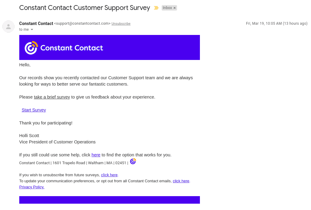 the support email from Constant Contact