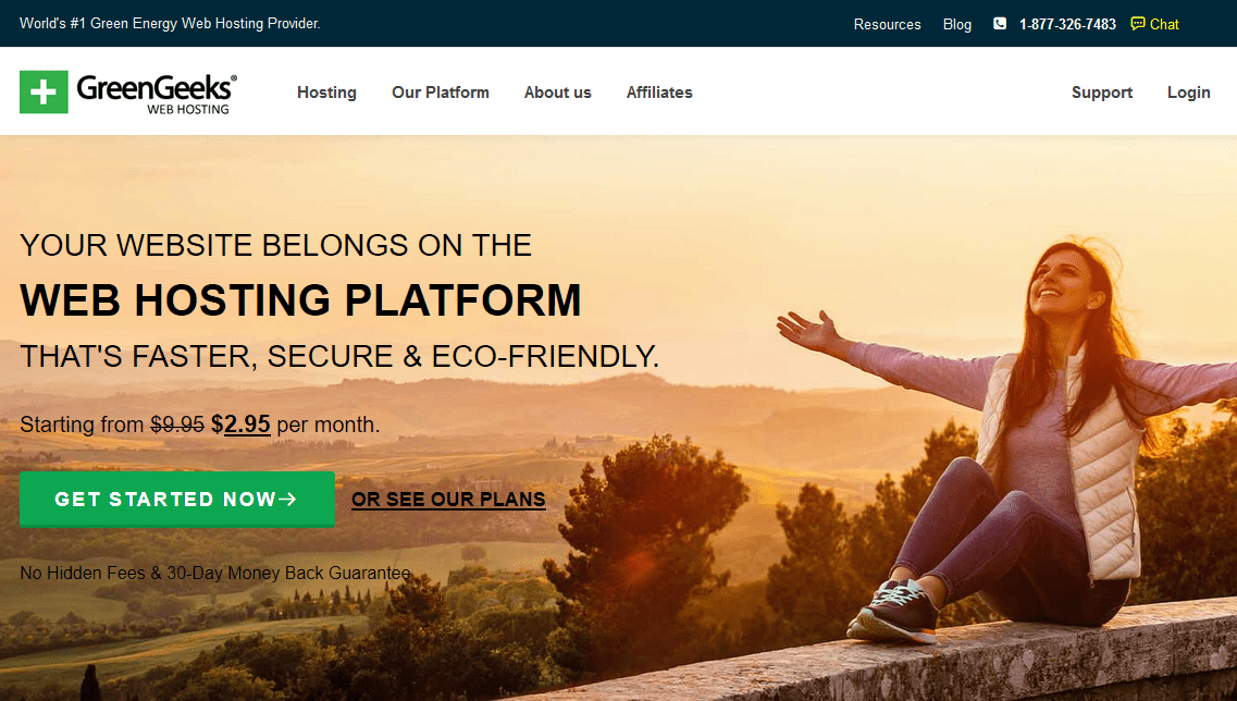 GreenGeeks homepage