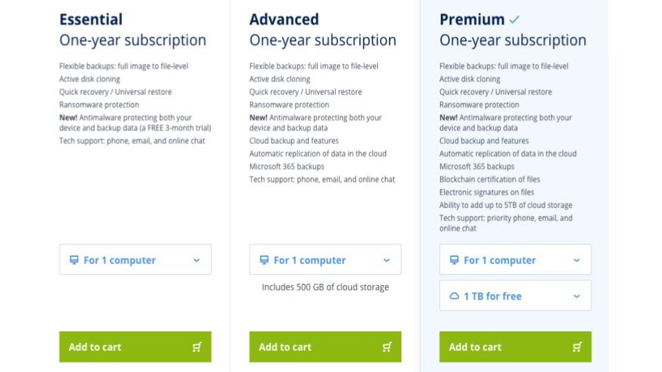 Acronis True Image pricing tiers