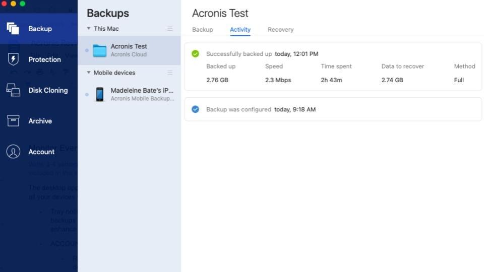 Acronis True Image 2021 Backup Dashboard