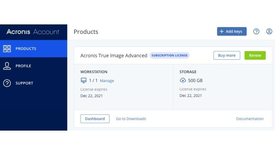 Acronis True Image 2021 Online Dashboard.