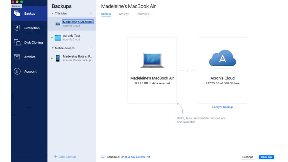Acronis True Image 2021 adding a new backup.