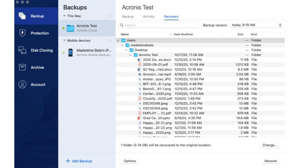 Acronis True Image 2021 folder recovery.