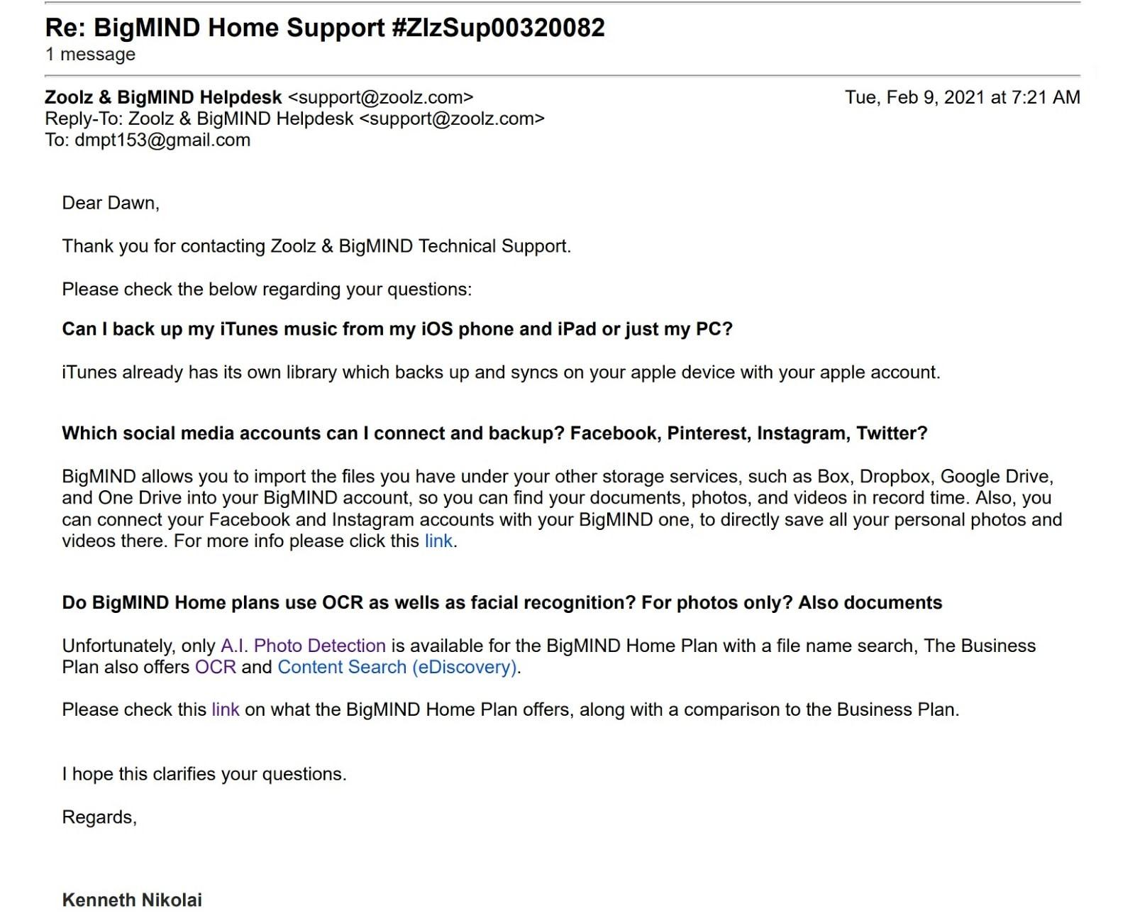 BigMIND support email