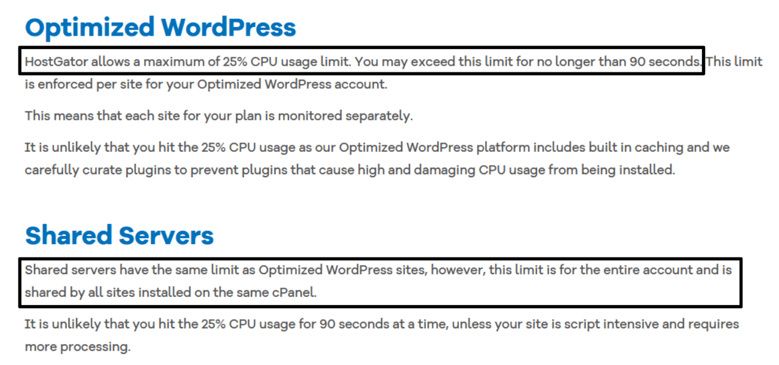 HostGator Terms of Service - CPU usage limits and shared server limits