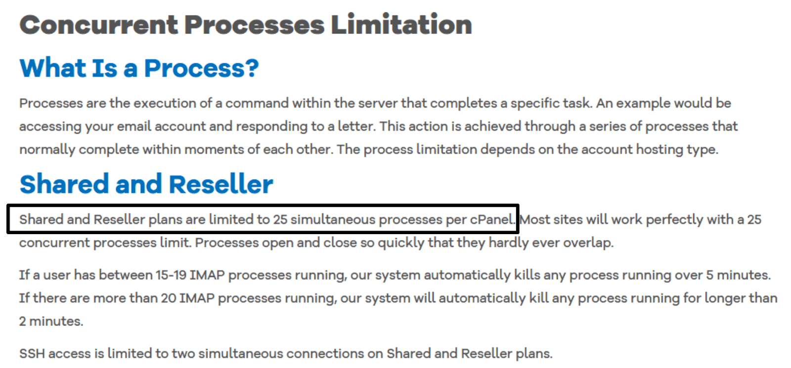 HostGator Terms of Service - limited on simultaneous processes per cPanel