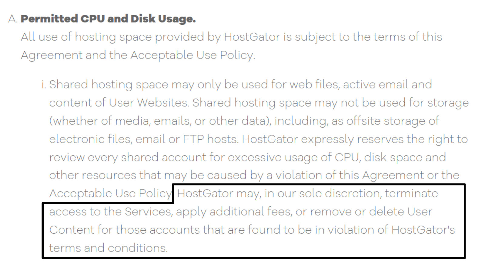 HostGator Terms of Service - permitted CPU and disk usage