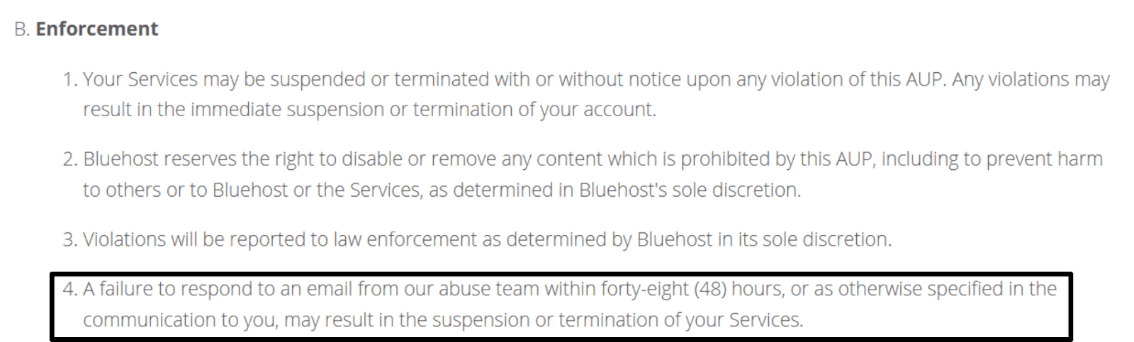Bluehost Terms of Service - suspension or termination of account