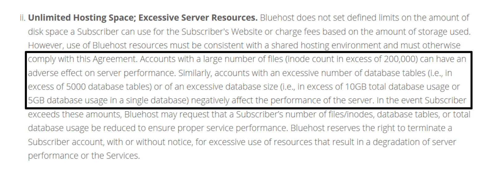 Bluehost terms of service - unlimited hosting space and excessive server resources