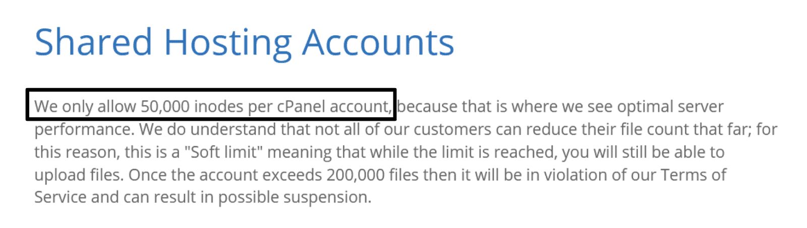 Bluehost terms of service - 50,000 inodes per cPanel account