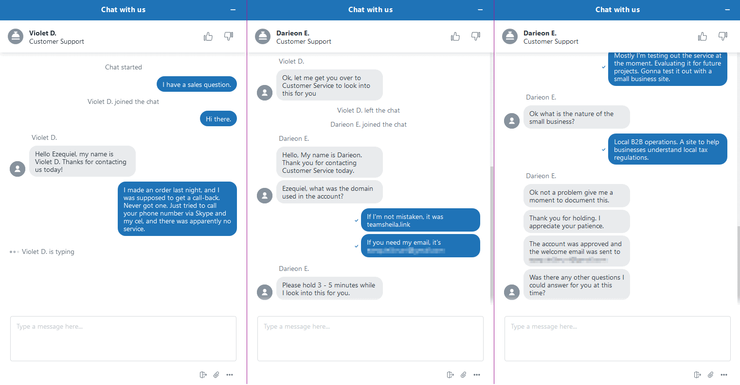 my chat conversation with InMotion support