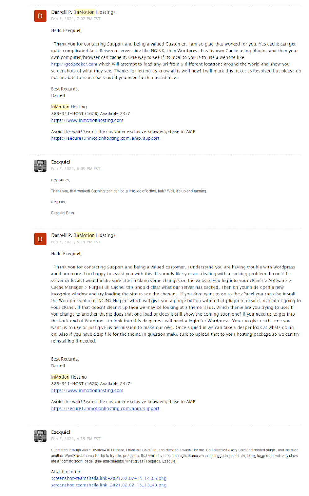 my email exchange with support