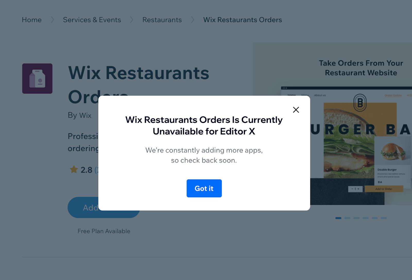 Editor X - Wix Restaurants Orders app