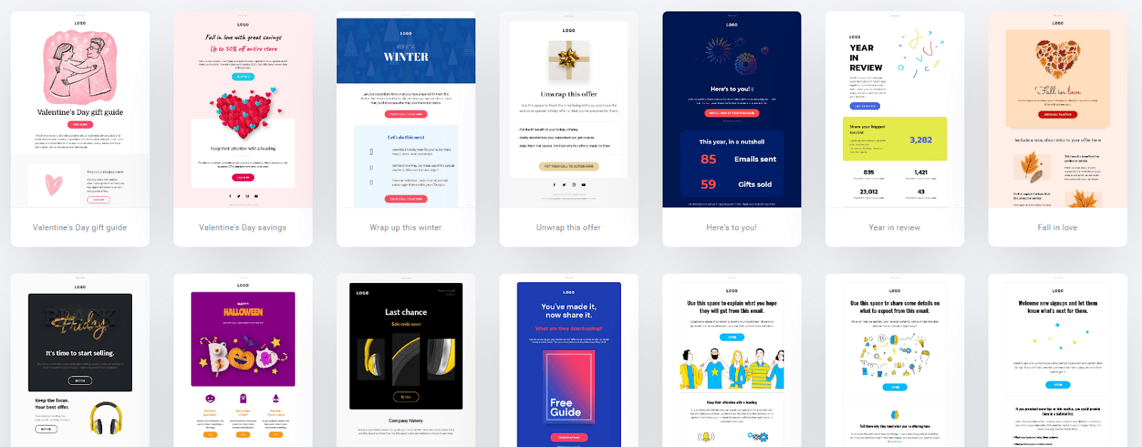 GetResponse email template library