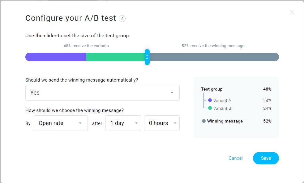 GetResponse A/B testing setup