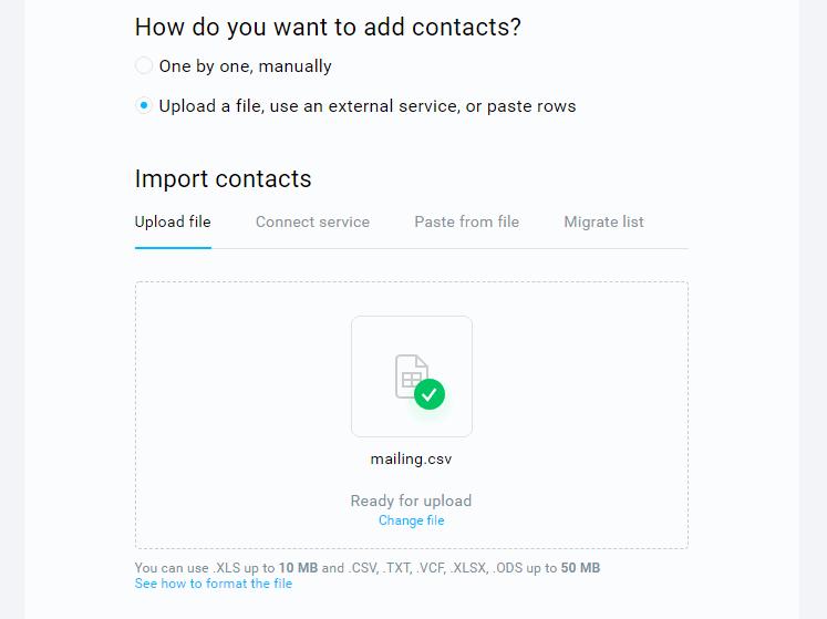GetResponse contact list import options.