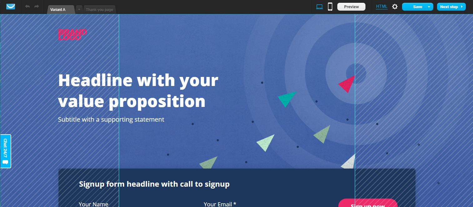 GetResponse landing page example