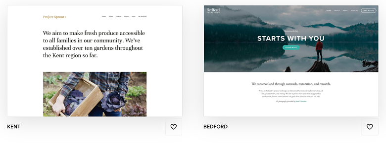 Squarespace Kent and Bedford templates
