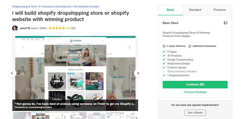 Umer713 Fiverr profile - Best Shopify Experts