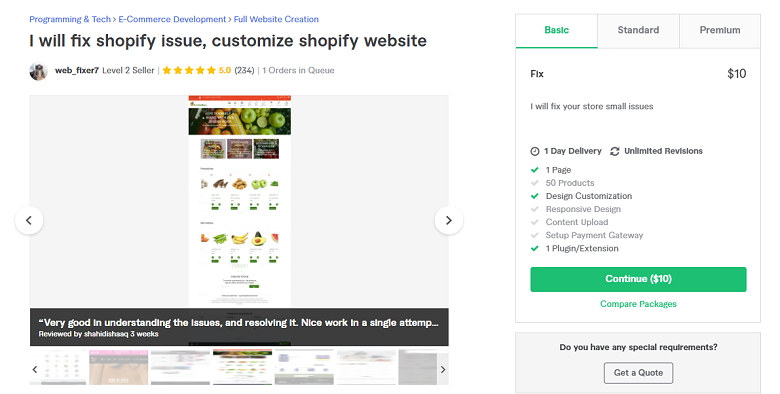 Web_fixer7 Fiverr profile - Best Shopify Experts