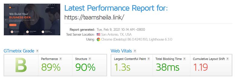InMotion Hosting GTmetrix results