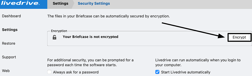Livedrive Security Settings - Briefcase encryption button