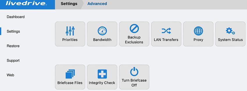 Livedrive advanced settings