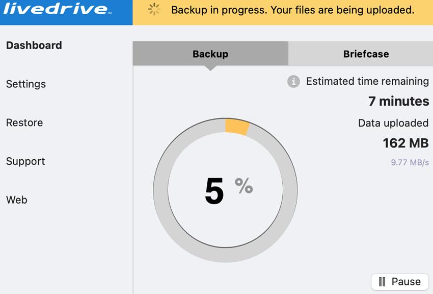 Livedrive backup status update in progress