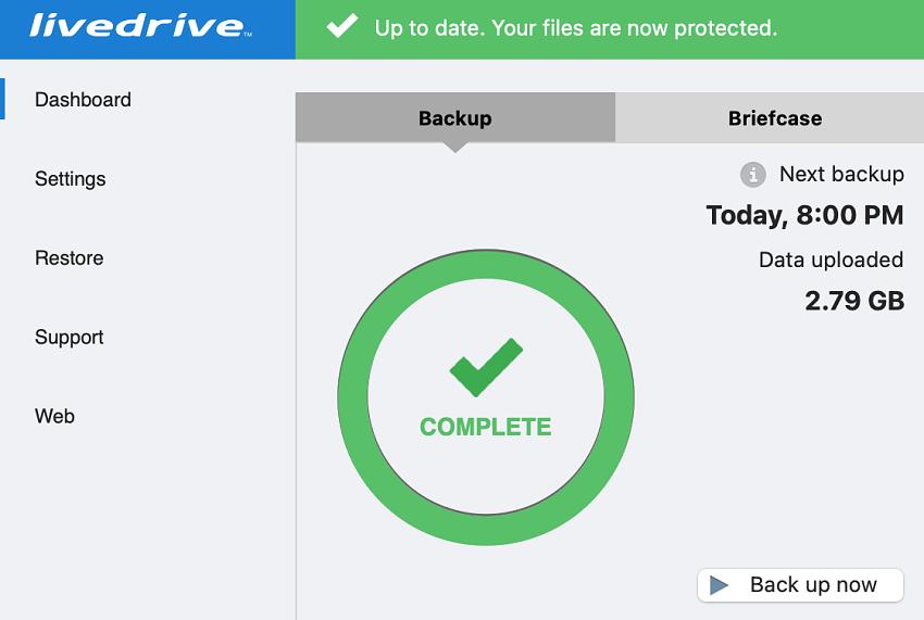 Livedrive backup status update complete