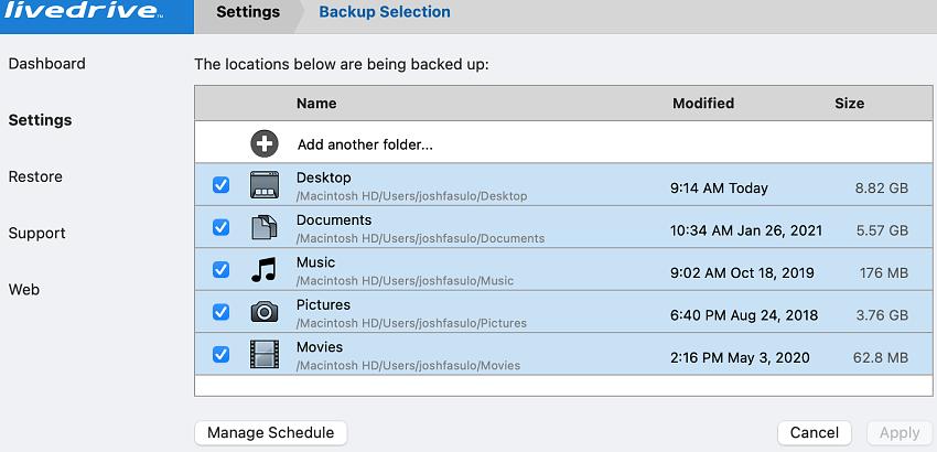 Livedrive backup selection folders