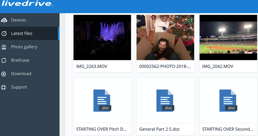 Livedrive web portal Latest Files view