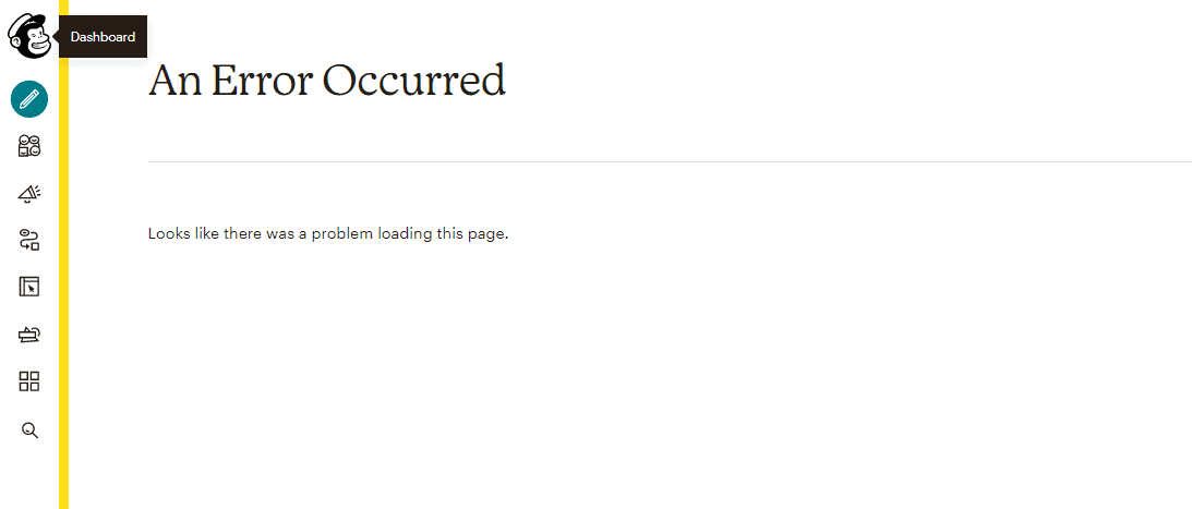 Mailchimp error message