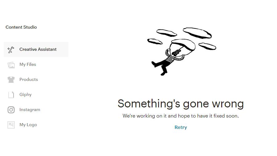 Mailchimp's Creative Assistant - error message