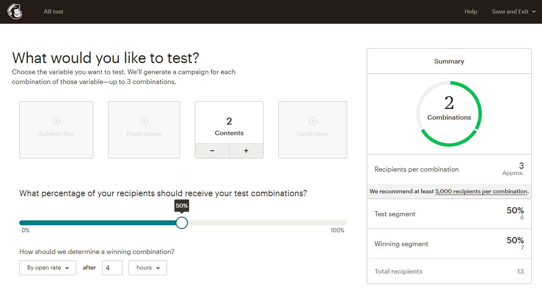Mailchimp's A/B testing tool