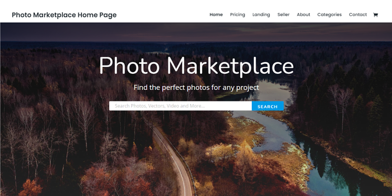 WordPress Photo Marketplace Theme Homepage